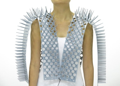 Just try and invade MY personal space! The spiked waistcoat designed to guarantee the wearer a comfortable subway commute