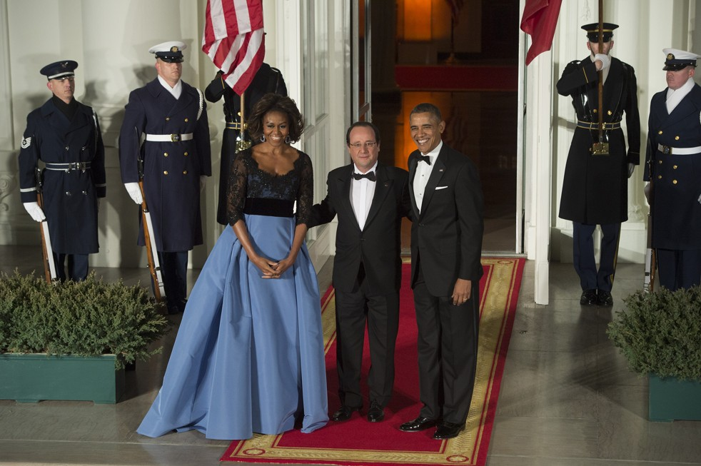 Michelle Obama, François Holland a Barack Obama