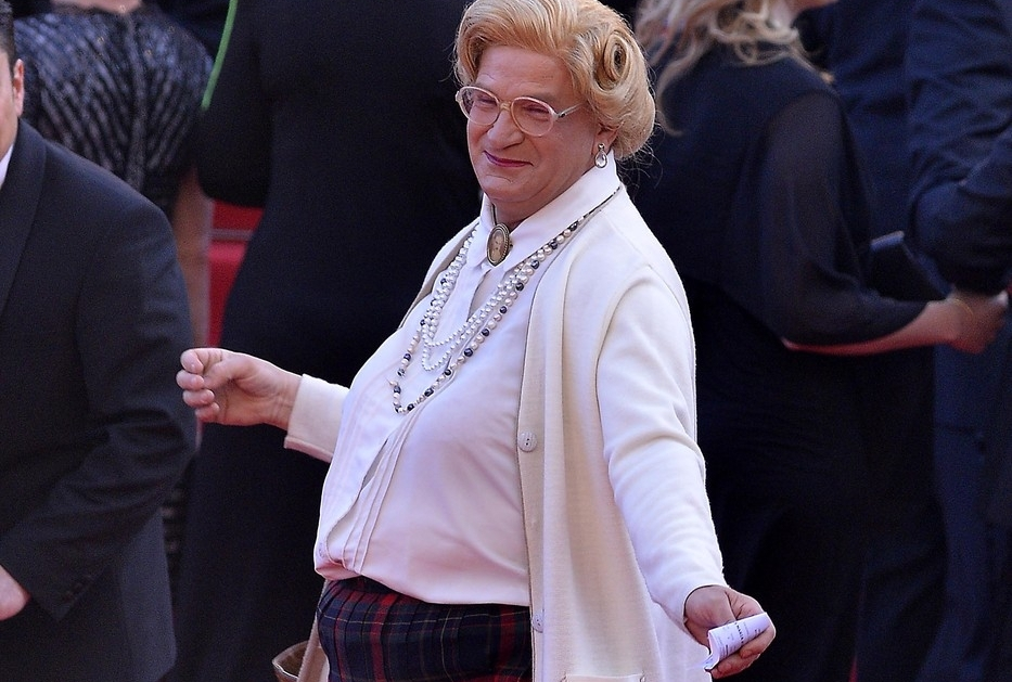 Mrs. Doubtfire (Robin Williams) crashes red carpet premiere at the 67th Annual Cannes Film Festival