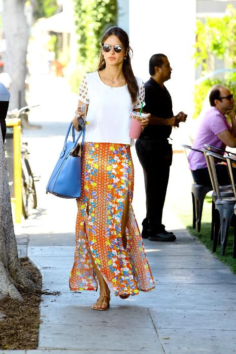 Alessandra Ambrosio is seen wearing a floral print maxi skirt today in Los Angeles, CA. She was also seen spending time with her daughter, Anja Mazur.
