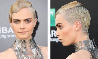 Dvě tváře jedné Cary: Modelka ukázala asymetrický účes a provokativní šaty